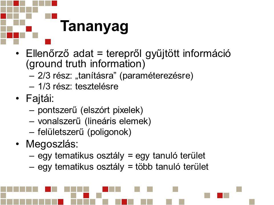 """Tananyag Ellenőrző adat = terepről gyűjtött információ (ground truth information) –2/3 rész: """"tanításra"""" (paraméterezésre) –1/3 rész: tesztelésre Fajt"""
