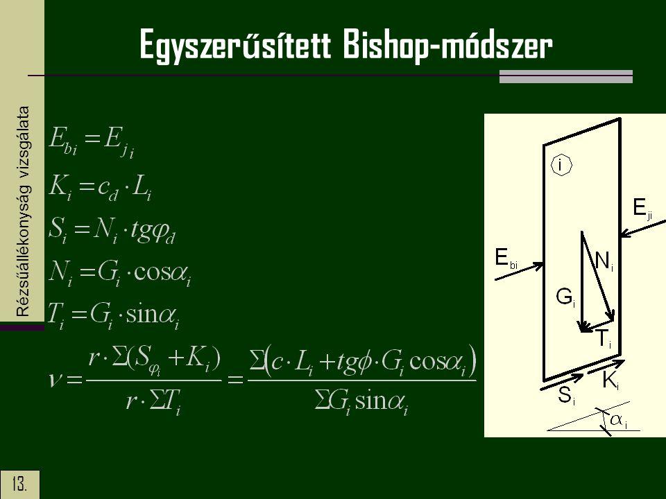 13. Egyszer ű sített Bishop-módszer Rézsűállékonyság vizsgálata