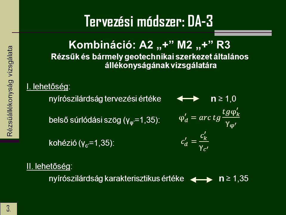 """3. Tervezési módszer: DA-3 Kombináció: A2 """"+"""" M2 """"+"""" R3 Rézsűk és bármely geotechnikai szerkezet általános állékonyságának vizsgálatára I. lehetőség:"""