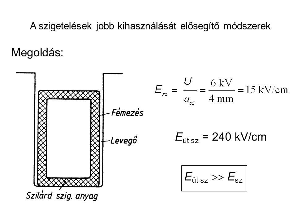 A szigetelések jobb kihasználását elősegítő módszerek Megoldás: E üt sz = 240 kV/cm E üt sz  E sz