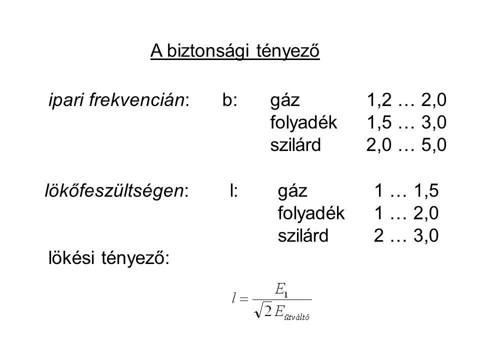 A biztonsági tényező ipari frekvencián:b: gáz1,2 … 2,0 folyadék1,5 … 3,0 szilárd2,0 … 5,0 lökőfeszültségen: lökési tényező: l: gáz1 … 1,5 folyadék1 …