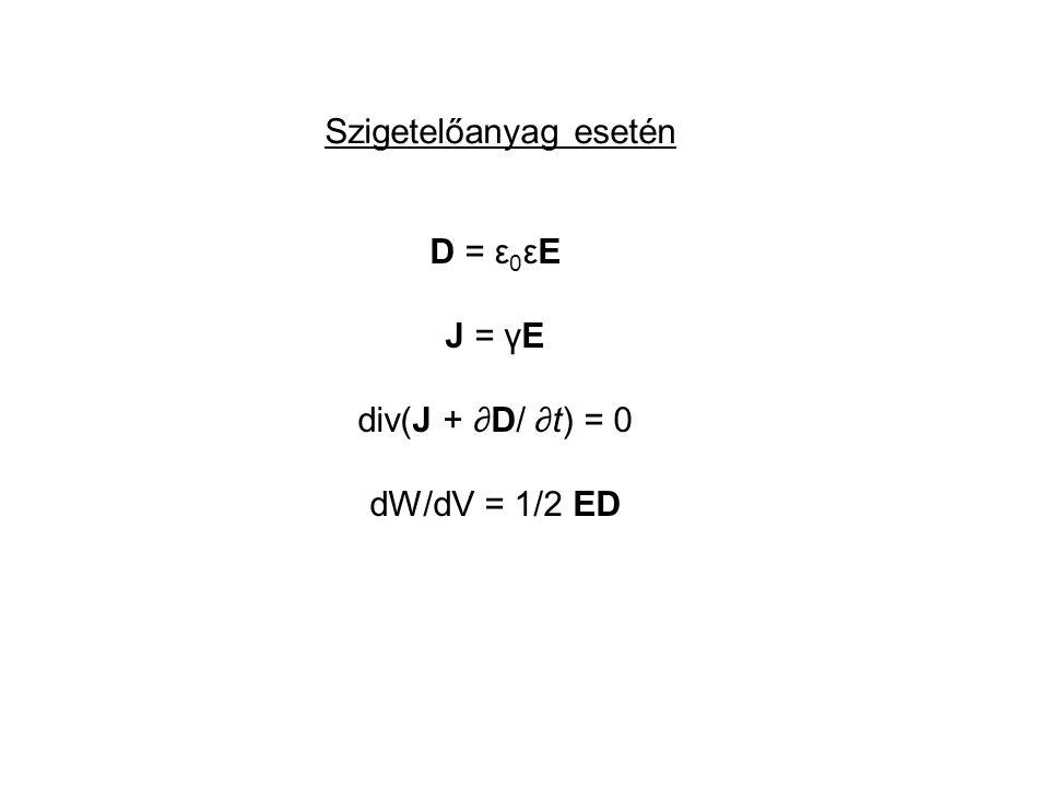Szigetelőanyag esetén D = ε 0 εE J = γE div(J + ∂D/ ∂t) = 0 dW/dV = 1/2 ED