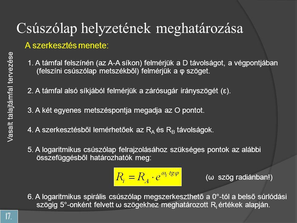 17.Csúszólap helyzetének meghatározása Vasalt talajtámfal tervezése A szerkesztés menete: 1.