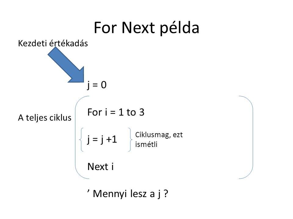 For Next példa j = 0 For i = 1 to 3 j = j +1 Next i ' Mennyi lesz a j ? Kezdeti értékadás A teljes ciklus Ciklusmag, ezt ismétli