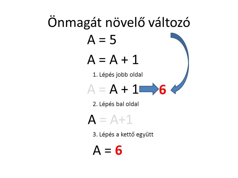 Önmagát növelő változó A = A + 1 1. Lépés jobb oldal A = A + 1 6 2. Lépés bal oldal A = A+1 3. Lépés a kettő együtt A = 6 A = 5