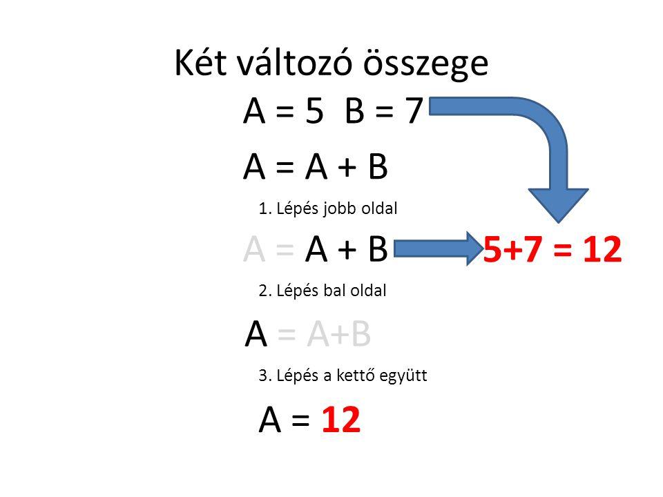 Két változó összege A = A + B 1. Lépés jobb oldal A = A + B 5+7 = 12 2. Lépés bal oldal A = A+B 3. Lépés a kettő együtt A = 12 A = 5 B = 7