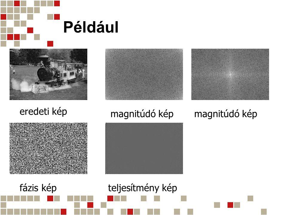 Például eredeti kép magnitúdó kép fázis képteljesítmény kép magnitúdó kép