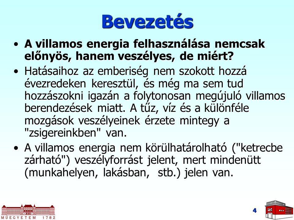 4 Bevezetés A villamos energia felhasználása nemcsak előnyös, hanem veszélyes, de miért?A villamos energia felhasználása nemcsak előnyös, hanem veszél