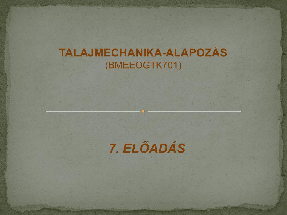 7. ELŐADÁS TALAJMECHANIKA-ALAPOZÁS (BMEEOGTK701)