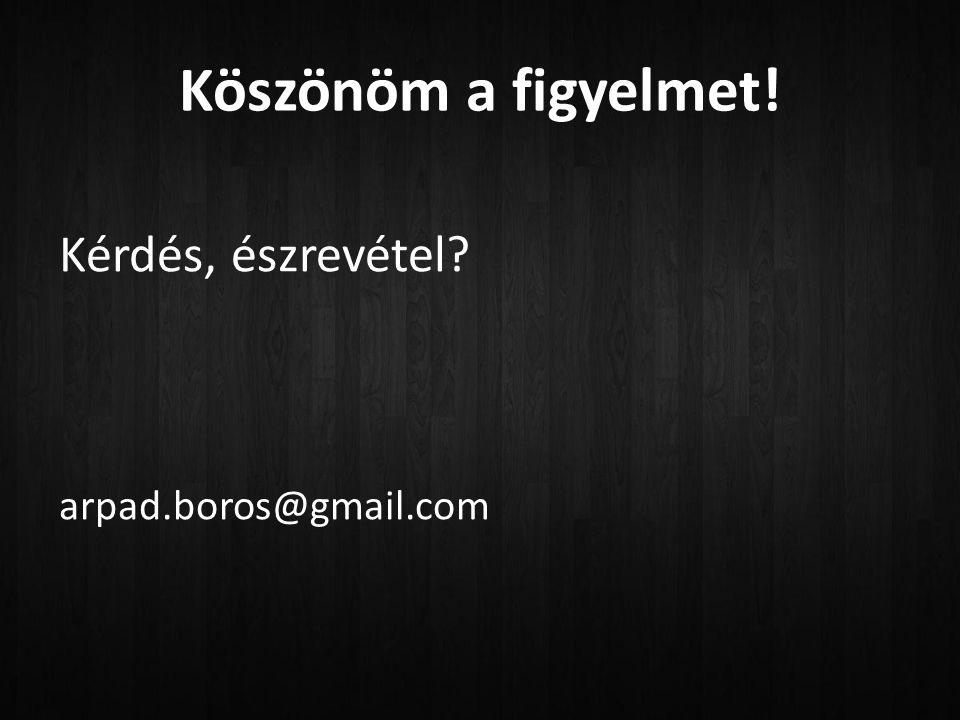 Köszönöm a figyelmet! Kérdés, észrevétel? arpad.boros@gmail.com