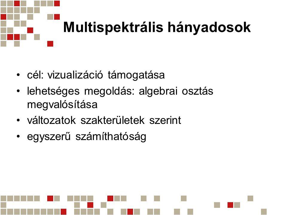 Multispektrális hányadosok cél: vizualizáció támogatása lehetséges megoldás: algebrai osztás megvalósítása változatok szakterületek szerint egyszerű s