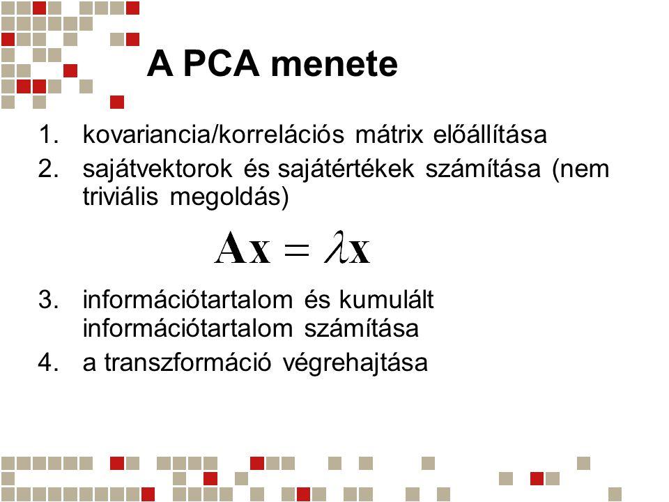 A PCA menete  kovariancia/korrelációs mátrix előállítása  sajátvektorok és sajátértékek számítása (nem triviális megoldás)  információtartalom é