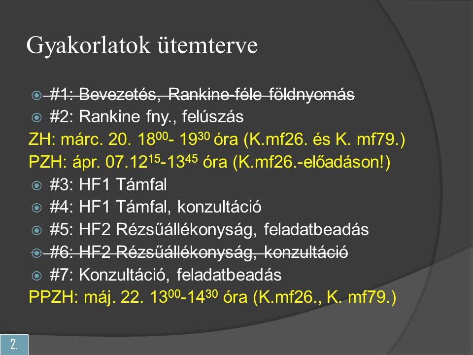 2. Gyakorlatok ütemterve  #1: Bevezetés, Rankine-féle földnyomás  #2: Rankine fny., felúszás ZH: márc. 20. 18 00 - 19 30 óra (K.mf26. és K. mf79.) P