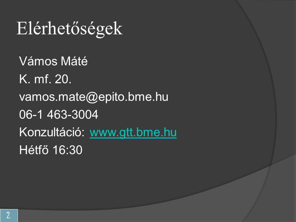 2. Elérhetőségek Vámos Máté K. mf. 20. vamos.mate@epito.bme.hu 06-1 463-3004 Konzultáció: www.gtt.bme.huwww.gtt.bme.hu Hétfő 16:30