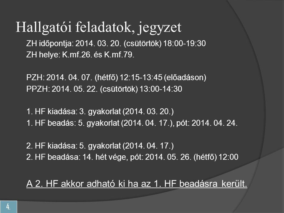 4. Hallgatói feladatok, jegyzet ZH időpontja: 2014. 03. 20. (csütörtök) 18:00-19:30 ZH helye: K.mf.26. és K.mf.79. PZH: 2014. 04. 07. (hétfő) 12:15-13