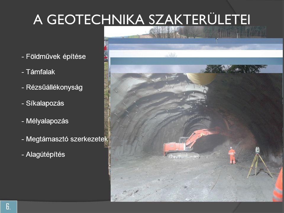6. - Földművek építése - Rézsűállékonyság - Síkalapozás - Mélyalapozás - Megtámasztó szerkezetek - Alagútépítés A GEOTECHNIKA SZAKTERÜLETEI - Támfalak