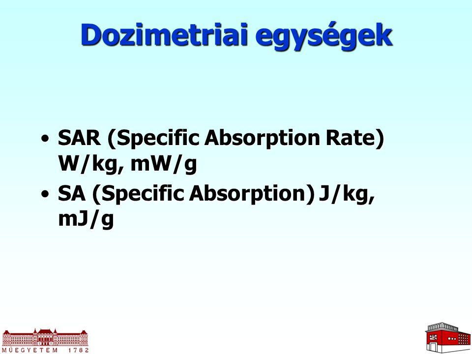 SAR (Specific Absorption Rate) W/kg, mW/gSAR (Specific Absorption Rate) W/kg, mW/g SA (Specific Absorption) J/kg, mJ/gSA (Specific Absorption) J/kg, mJ/g