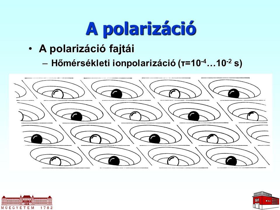 A polarizáció A polarizáció fajtáiA polarizáció fajtái –Hőmérsékleti ionpolarizáció (τ=10 -4 …10 -2 s)
