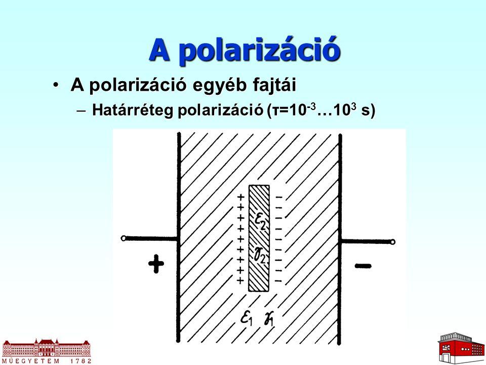 A polarizáció A polarizáció egyéb fajtáiA polarizáció egyéb fajtái –Határréteg polarizáció (τ=10 -3 …10 3 s)