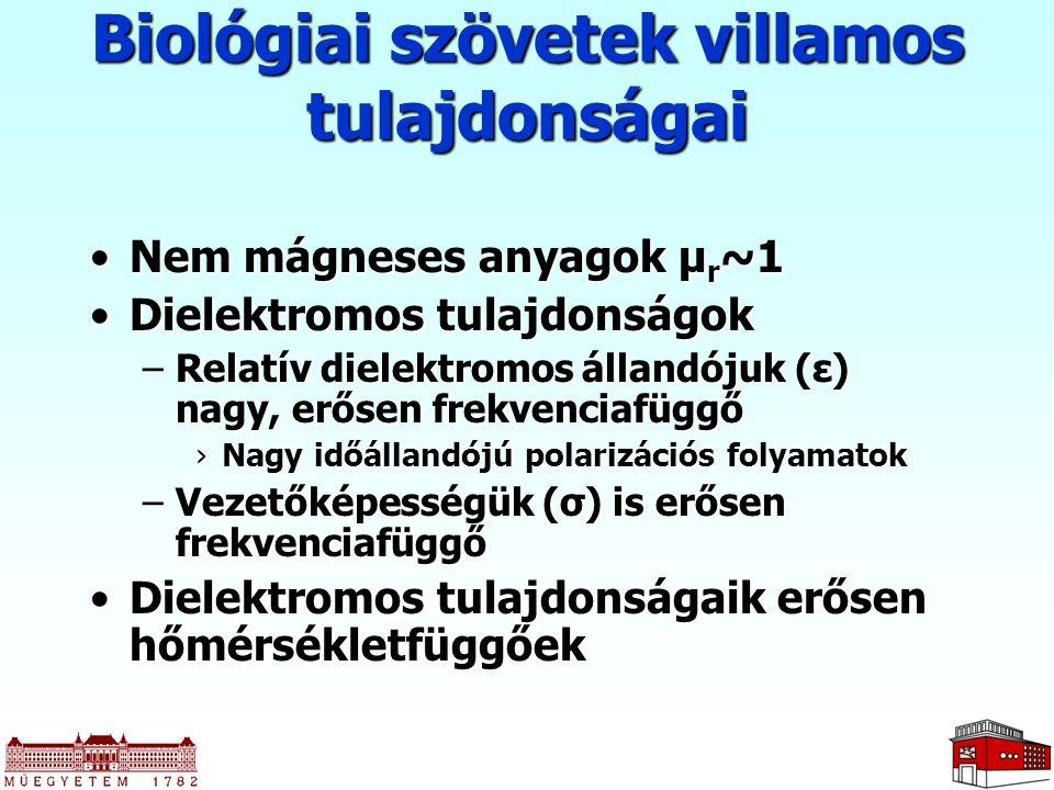 Biológiai szövetek villamos tulajdonságai Nem mágneses anyagok µ r ~1Nem mágneses anyagok µ r ~1 Dielektromos tulajdonságokDielektromos tulajdonságok