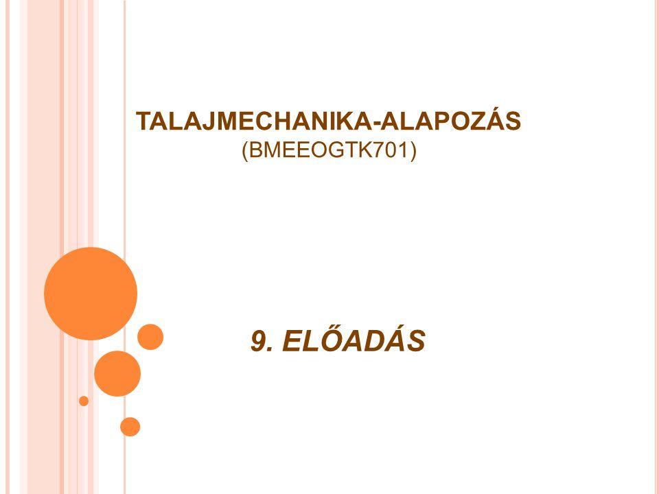 9. ELŐADÁS TALAJMECHANIKA-ALAPOZÁS (BMEEOGTK701)