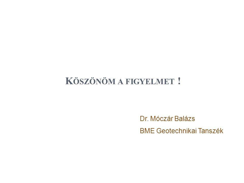 K ÖSZÖNÖM A FIGYELMET ! Dr. Móczár Balázs BME Geotechnikai Tanszék