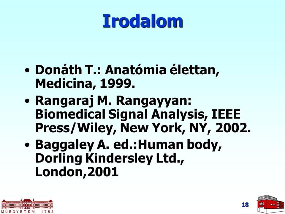 18 Irodalom Donáth T.: Anatómia élettan, Medicina, 1999.Donáth T.: Anatómia élettan, Medicina, 1999. Rangaraj M. Rangayyan: Biomedical Signal Analysis