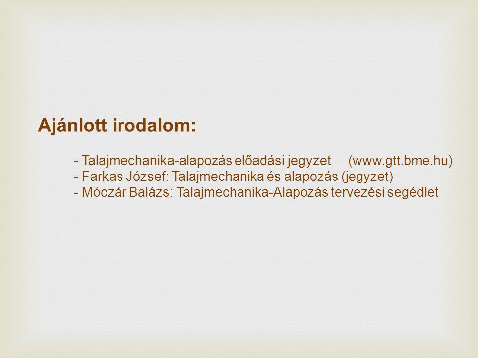Ajánlott irodalom: - Talajmechanika-alapozás előadási jegyzet (www.gtt.bme.hu) - Farkas József: Talajmechanika és alapozás (jegyzet) - Móczár Balázs: