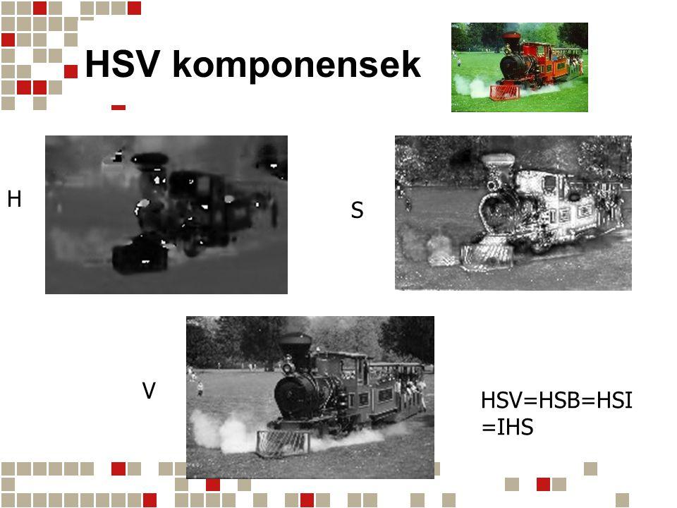 HSV komponensek H S V HSV=HSB=HSI =IHS