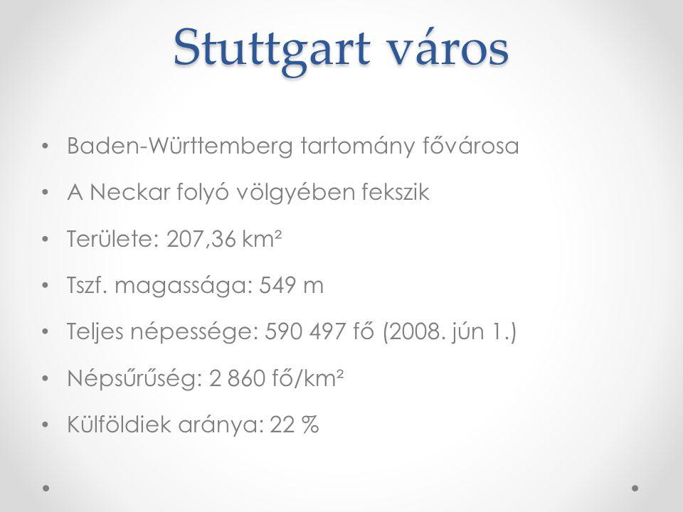 Stuttgart város Baden-Württemberg tartomány fővárosa A Neckar folyó völgyében fekszik Területe: 207,36 km² Tszf. magassága: 549 m Teljes népessége: 59