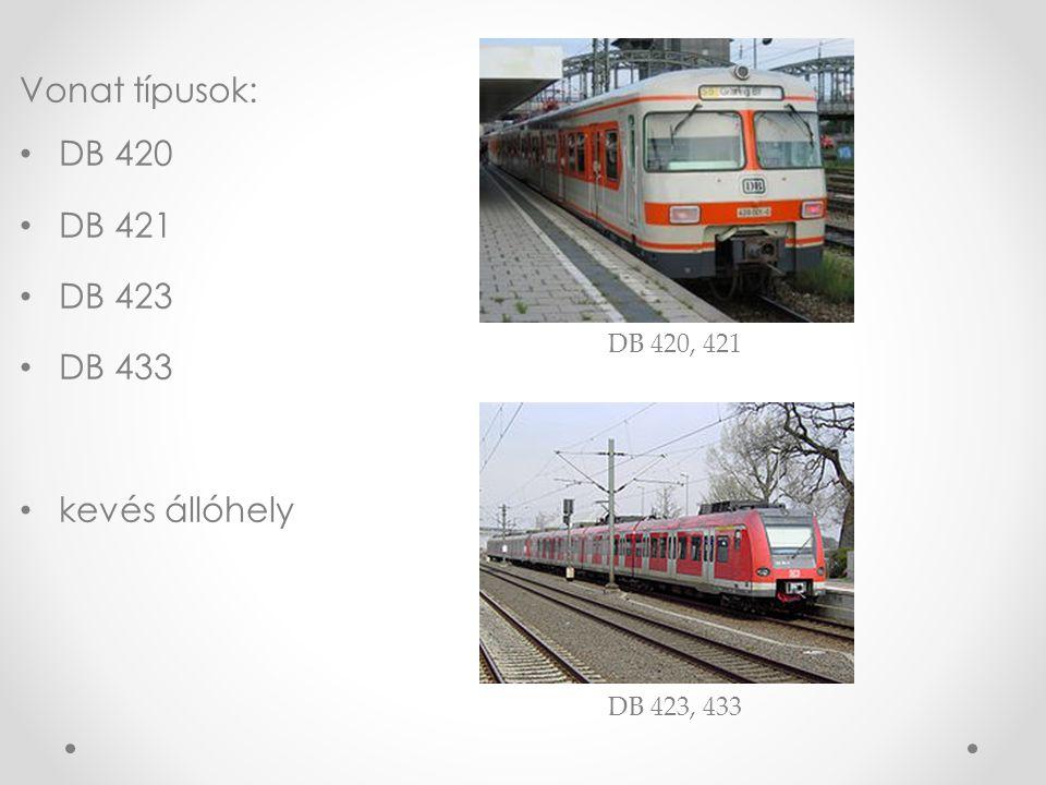 Vonat típusok: DB 420 DB 421 DB 423 DB 433 kevés állóhely DB 420, 421 DB 423, 433