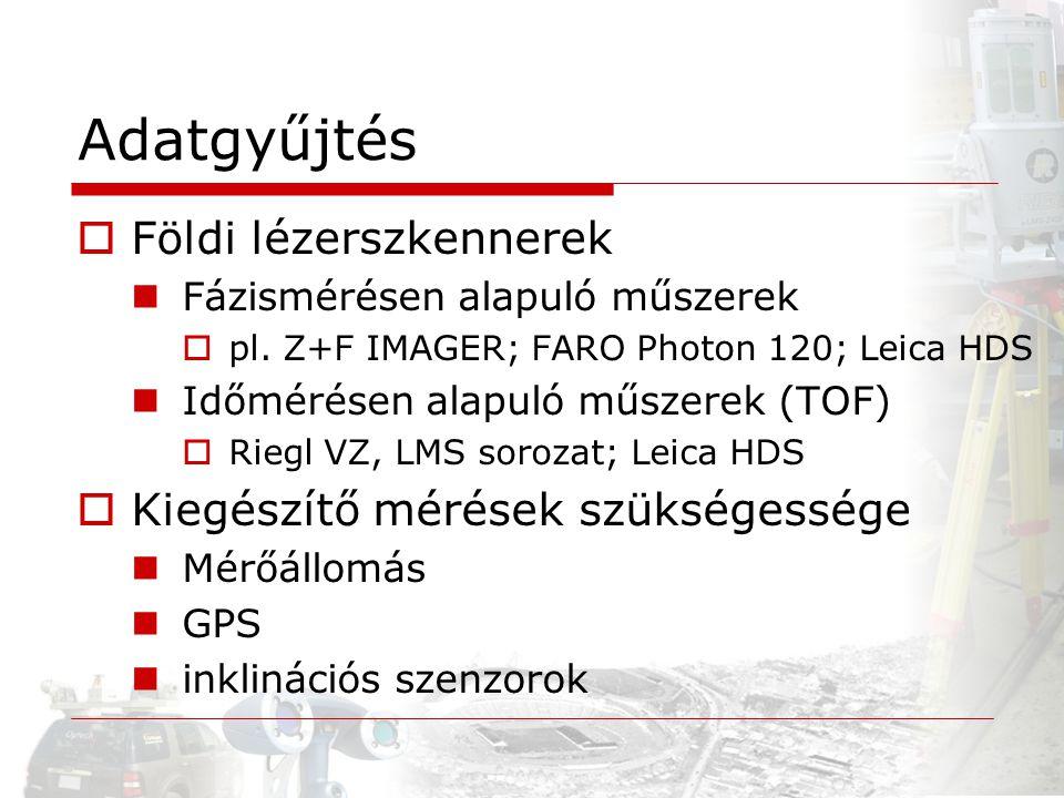 Adatgyűjtés  Földi lézerszkennerek Fázismérésen alapuló műszerek  pl. Z+F IMAGER; FARO Photon 120; Leica HDS Időmérésen alapuló műszerek (TOF)  Rie