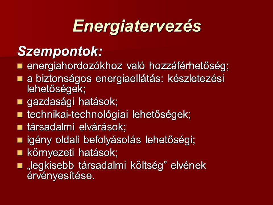Energiatervezés Szempontok: energiahordozókhoz való hozzáférhetőség; energiahordozókhoz való hozzáférhetőség; a biztonságos energiaellátás: készletezé