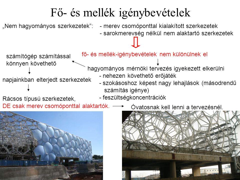 """Fő- és mellék igénybevételek 7 """"Nem hagyományos szerkezetek"""":- merev csomóponttal kialakított szerkezetek - sarokmerevség nélkül nem alaktartó szerkez"""