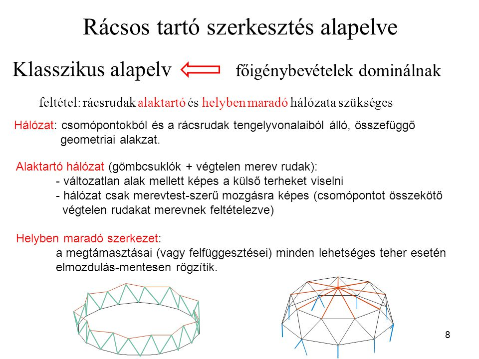 Hálózati határozottság Geometriailag határozott hálózat: bármelyik hálózati vonal eltávolítása esetén megszűnik az alaktartóság hálózati vonalak száma az alaktartósághoz minimálisan szükséges szám Fontos tulajdonság: Lehetőség van egy-egy tetszőlegesen kiválasztott hálózati vonal hosszának kicsiny (ún.