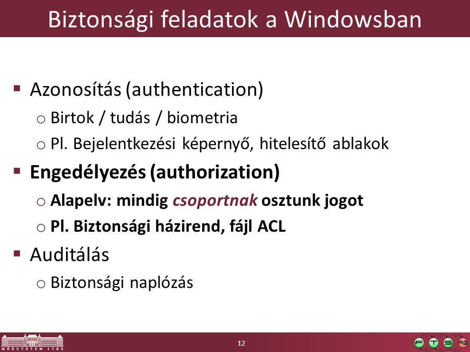 Biztonsági feladatok a Windowsban  Azonosítás (authentication) o Birtok / tudás / biometria o Pl. Bejelentkezési képernyő, hitelesítő ablakok  Enged