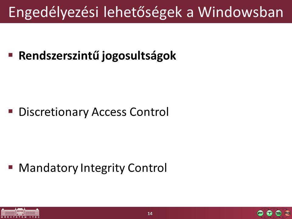 Engedélyezési lehetőségek a Windowsban  Rendszerszintű jogosultságok  Discretionary Access Control  Mandatory Integrity Control 14