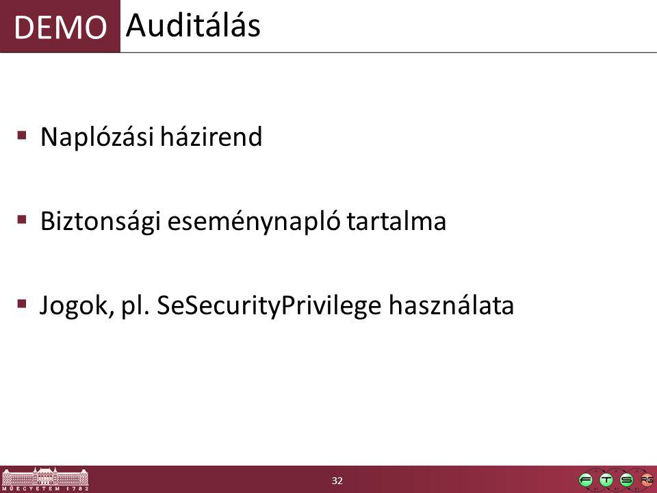 DEMO  Naplózási házirend  Biztonsági eseménynapló tartalma  Jogok, pl. SeSecurityPrivilege használata Auditálás 32