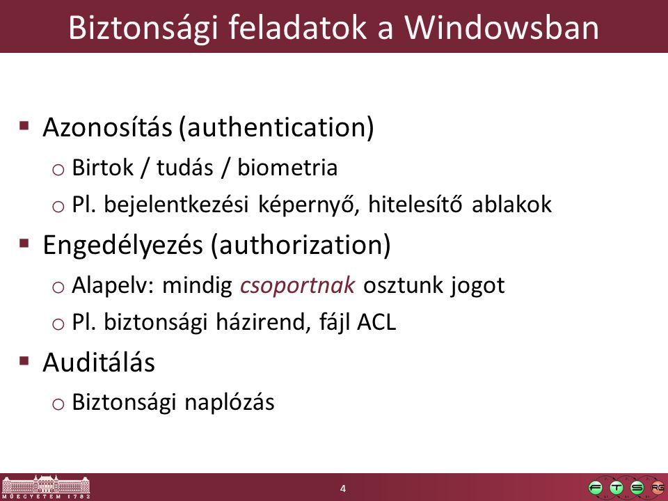 Biztonsági feladatok a Windowsban  Azonosítás (authentication) o Birtok / tudás / biometria o Pl.