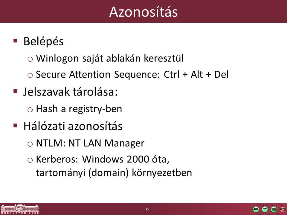Azonosítás  Belépés o Winlogon saját ablakán keresztül o Secure Attention Sequence: Ctrl + Alt + Del  Jelszavak tárolása: o Hash a registry-ben  Hálózati azonosítás o NTLM: NT LAN Manager o Kerberos: Windows 2000 óta, tartományi (domain) környezetben 9