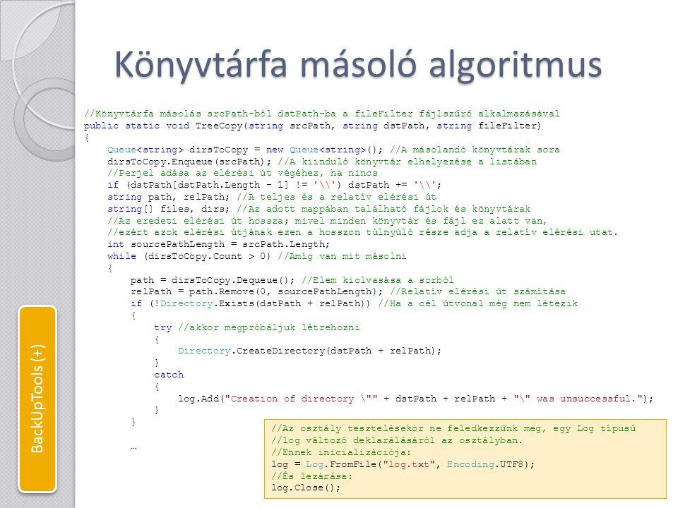 Könyvtárfa másoló algoritmus … try { //Az adott könyvtárban található fájlok lekérdezése files = Directory.GetFiles(path, fileFilter); log.Add( Directory opened: + (relPath == .