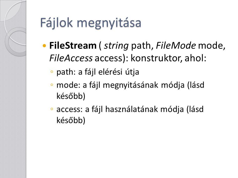 Fájlok megnyitása A fájlok megnyitásakor meg kell adni, hogyan akarjuk megnyitni őket.