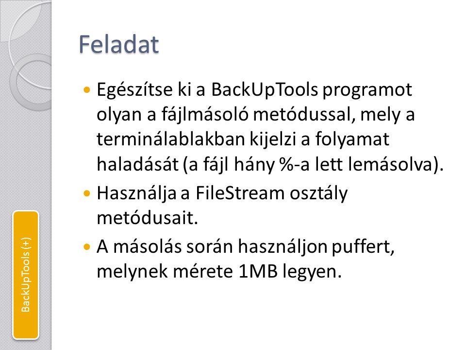 Fájlmásolás folyamatkijelzéssel const int bufferLength = 1024*1024; //1MB puffer public static void ProgressCopy(string srcFile, string dstFile) { //A kurzor eredeti pozíciójának letárolása int cusorTop = Console.CursorTop; int cusorLeft = Console.CursorLeft; //Bemenet és kimenet megnyitása FileStream srcFS = new FileStream(srcFile, FileMode.Open, FileAccess.Read); FileStream dstFS = new FileStream(dstFile, FileMode.Create, FileAccess.Write); try { //Puffer a fájlmásoláshoz byte[] buffer = new byte[bufferLength]; int readedBytes = 0; //kiolvasott béjtok száma while (srcFS.Position < srcFS.Length) //Amíg nem érünk végig a forrásfájlon { //Olvassunk a pufferbe a forrásfájlból readedBytes = srcFS.Read(buffer, 0, bufferLength); //Majd beírjuk a kiolvasott bájtokat a célfájlba dstFS.Write(buffer, 0, readedBytes); dstFS.Flush(); //Változások mentése a háttértárra Console.SetCursorPosition(cusorLeft, cusorTop); //Kurzor pozició visszaállítása //Folyamatállapot kijelzése Console.Write( Copying...