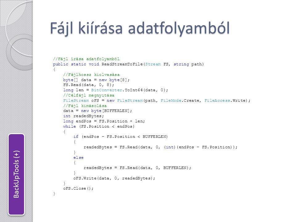 Könyvtárfa archiválása //Az adatblokk tipusa enum ArchiveBlockType : byte { Directory = 0, File = 1, Data = 2 }; //Könyvtárfa archiválása fájlba public static void Archive(string srcPath, string dstFile, string fileFilter) { try { //Célfájl megnyitása FileStream FS = new FileStream(dstFile, FileMode.Create, FileAccess.Write); BinaryWriter BW = new BinaryWriter(FS, Encoding.UTF8); //Az archiválandó mappák listája Queue dirsToBackUp = new Queue (); dirsToBackUp.Enqueue(srcPath); //Kiinduló könyvtár hozzáadása string path, relPath; //A teljes és a relatív elérési út string[] files, dirs; //Az adott mappában található fájlok és könyvtárak //Az eredeti elérési út hossza; mivel minden könyvtár és fájl ez alatt van, //ezért azok elérési útjának ezen a hosszon túlnyúló része //adja a relatív elérési utat.