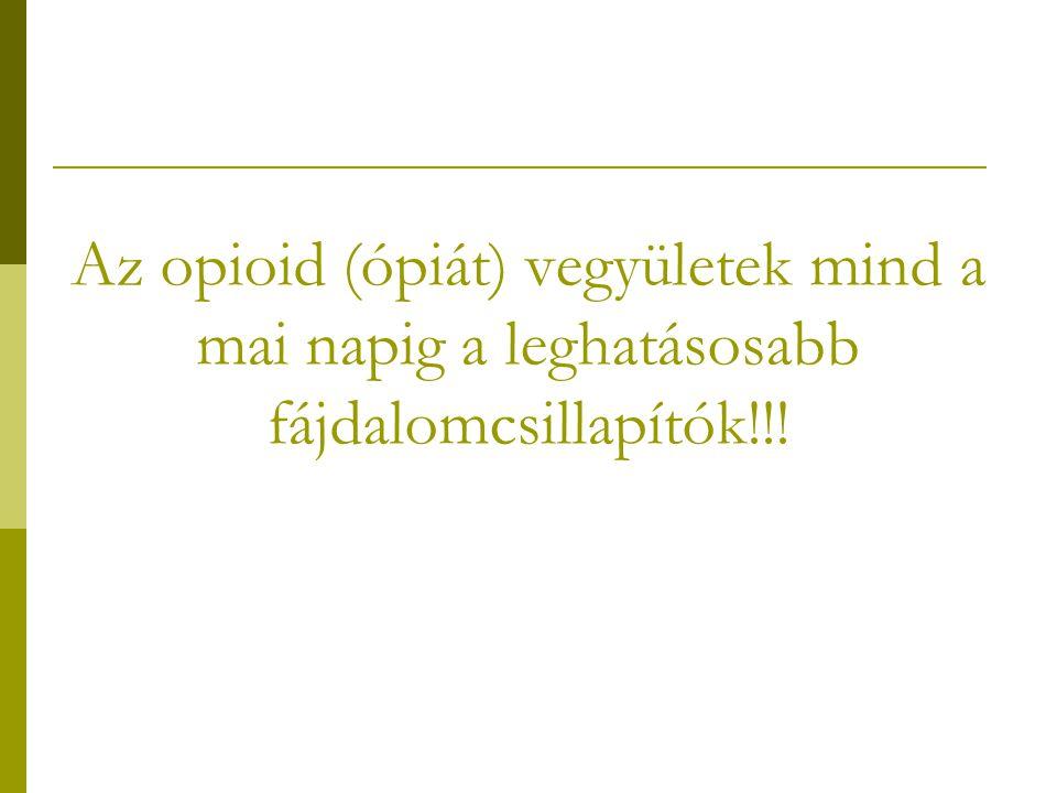 Ópiát fájdalomcsillapítók osztályozása I.
