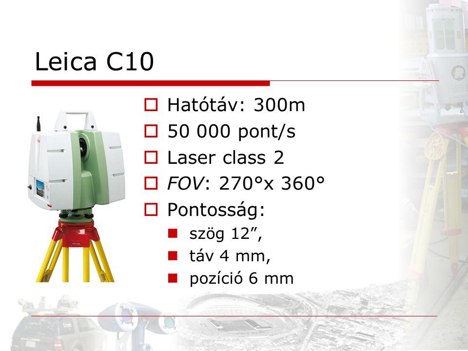 "Leica C10  Hatótáv: 300m  50 000 pont/s  Laser class 2  FOV: 270°x 360°  Pontosság: szög 12"", táv 4 mm, pozíció 6 mm"