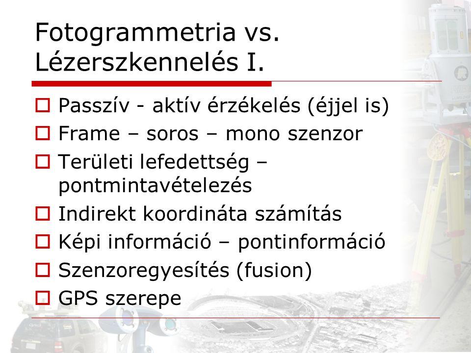 Fotogrammetria vs. Lézerszkennelés I.  Passzív - aktív érzékelés (éjjel is)  Frame – soros – mono szenzor  Területi lefedettség – pontmintavételezé