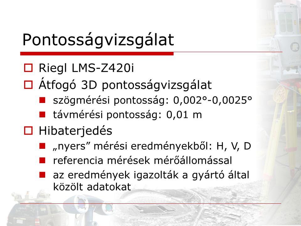 """ Riegl LMS-Z420i  Átfogó 3D pontosságvizsgálat szögmérési pontosság: 0,002°-0,0025° távmérési pontosság: 0,01 m  Hibaterjedés """"nyers"""" mérési eredmé"""