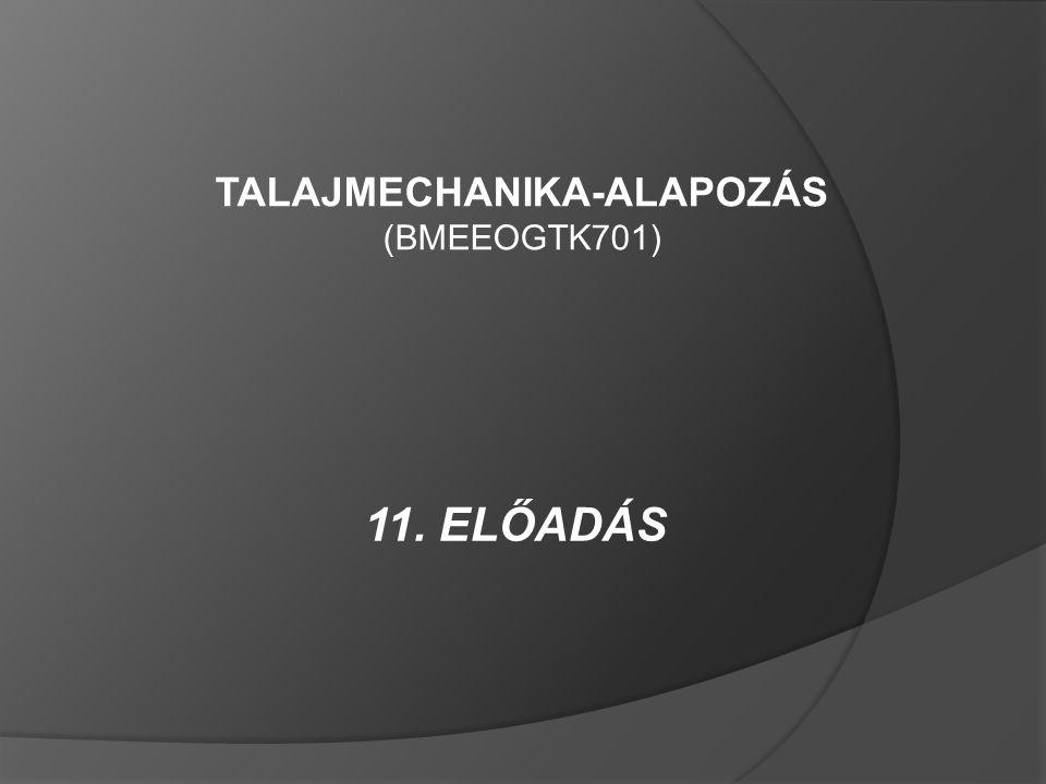 11. ELŐADÁS TALAJMECHANIKA-ALAPOZÁS (BMEEOGTK701)