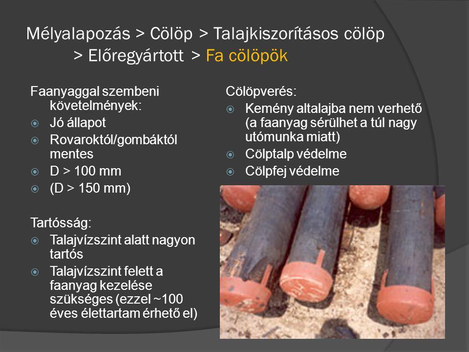 Faanyaggal szembeni követelmények:  Jó állapot  Rovaroktól/gombáktól mentes  D > 100 mm  (D > 150 mm) Tartósság:  Talajvízszint alatt nagyon tart